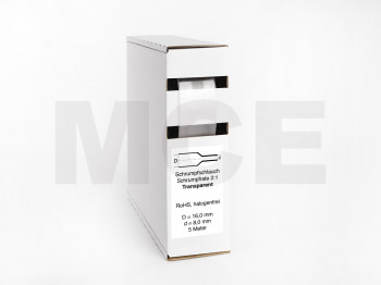 Heat Shrink Tube Box 5m Transparent 16.0mm / 8.0mm
