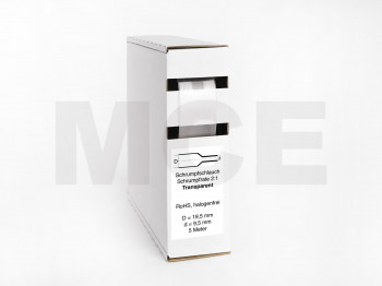 Heat Shrink Tube Box 5m Transparent 19.5mm / 9.5mm