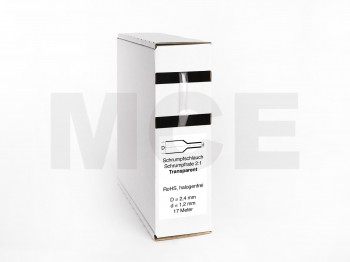 Schrumpfschlauch Box 17m Transparent 2,4mm / 1,2mm