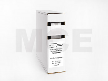 Heat Shrink Tube Box 5m Transparent 25.4mm / 12.7mm