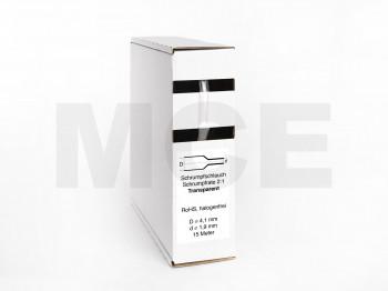 Schrumpfschlauch Box 15m Transparent 4,1mm / 2,0mm