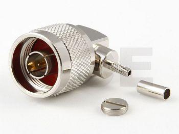 N Plug R/A for RG 174 / 188 / 316, Crimp