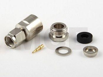 SMA Plug for RG 58, Nickel plated, PTFE, Clamp