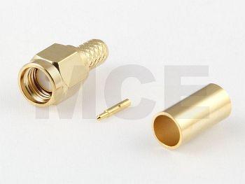 SMA Stecker crimp für RG 58, Gerade,vergoldet, PTFE