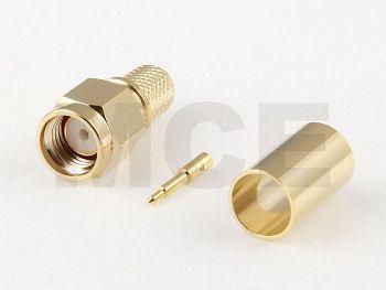SMA Stecker für H 155 / CLF 240, PTFE, Vergoldet, Crimp
