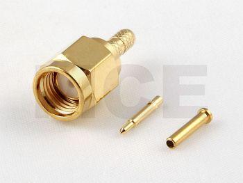 SMA Stecker für Koaxialkabel 1.32 mm, PTFE, Crimp