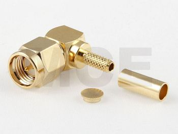 SMA Plug R/A for RG 174 / 188 / 316, Gold plated, Crimp