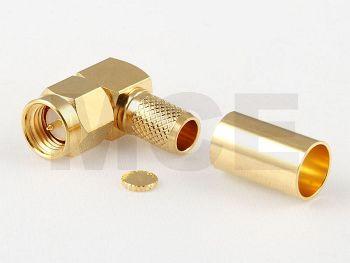 SMA Plug R/A for H 155 / CLF 240, Gold plated, Crimp