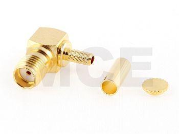 SMA Jack R/A for RG 174 / 188 / 316, PTFE, Gold plated, Crimp