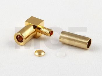 SSMB / SMR Nano Kabel Winkelbuchse für RG 174 / 188 / 316, Crimp, Kurz