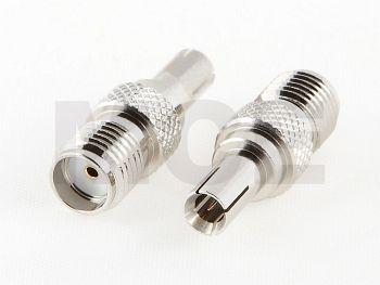 SMA Adapter, SMA Jack to TS 9 Plug, Nickel Plated