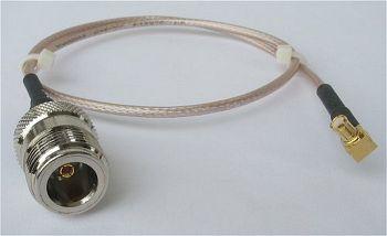 RG 316 mit MCX-Winkelstecker auf N-Kabelbuchse, Länge 20cm