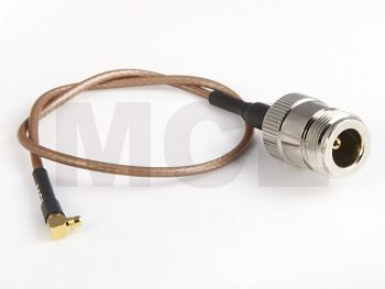 RG 316 mit MMCX-Winkelstecker auf N-Kabelbuchse, 10cm