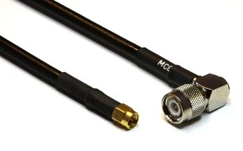H 155 PE Coaxial Cable assembled with TNC Male R/A to SMA Male, 1m