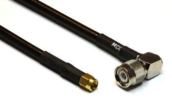 H 155 PE mit TNC Winkelstecker auf SMA Stecker, Länge 10m