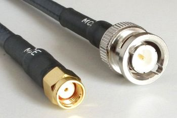 H 155 PE WLAN Coaxial Cable assembled with RP SMA Male to BNC Male, 15m