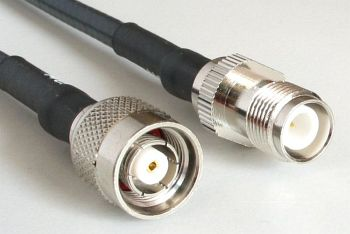 H 155 PE WLAN Coaxial Cable assembled with RP TNC Male to RP TNC Female, 15m