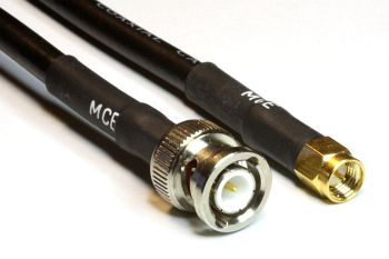 CLF 240 Low Loss Coaxial Cable assembled with BNC Male to SMA Male, 1,5m