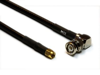 CLF 240 Low Loss Coaxial Cable assembled with BNC Male R/A to SMA Male, 0,5m
