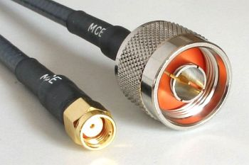 WLAN cable CLF 240 Low Loss assembled with RP SMA MALE to N MALE, 1m