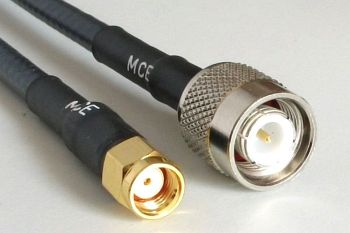 WLAN Coaxial Cable Assemblies with CLF 200, RP SMA MALE to TNC MALE, 1m