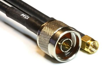 Aircell 5 Coaxial Cable Assemblies with N Male to SMA Male, 2m