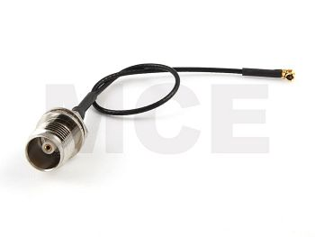 Pigtail, I-PEX to TNC Bulkhead HEX 8, Coaxial Cable, Length 15cm