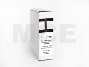 Heat Shrink Tube Box 17m black 1.6mm / 0.8mm