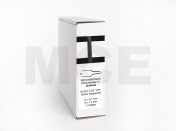 Heat Shrink Tube Box 17m black 2.1mm / 1.0mm
