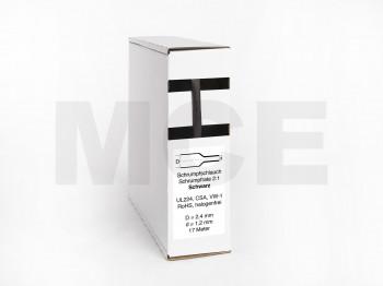 Schrumpfschlauch Box 17m Schwarz 2,4mm / 1,2mm