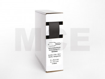Heat Shrink Tube Box 5m black 25.4mm / 12.7mm