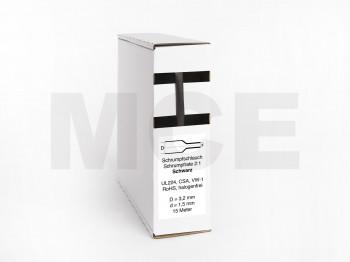 Schrumpfschlauch Box 15m Schwarz 3,2mm / 1,5mm