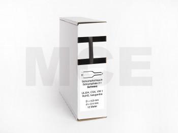 Schrumpfschlauch Box 12m Schwarz 4,8mm / 2,4mm