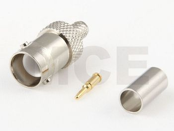 RP BNC Male Connector for Aircell 5, PTFE, crimp