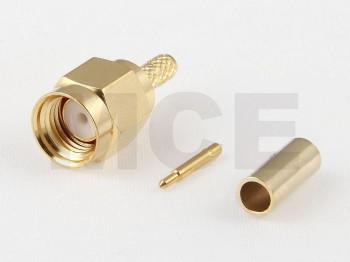 SMA Plug for RG174, RG188, RG316, PTFE, Crimp