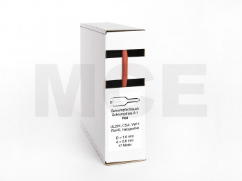 Heat Shrink Tube Box 17m Red 1.6mm / 0.8mm