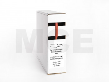 Schrumpfschlauch Box 17m Rot 2,1mm/1,0mm