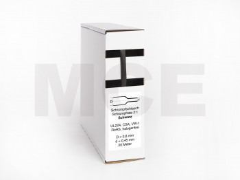 Schrumpfschlauch Box 20m Schwarz 0,8mm / 0,45mm