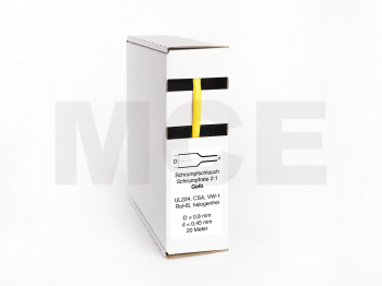 Heat Shrink Tube Box 20m Yellow 0.8mm / 0.45mm