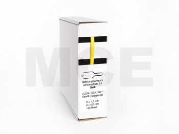 Heat Shrink Tube Box 20m Yellow 1.2mm / 0.6mm